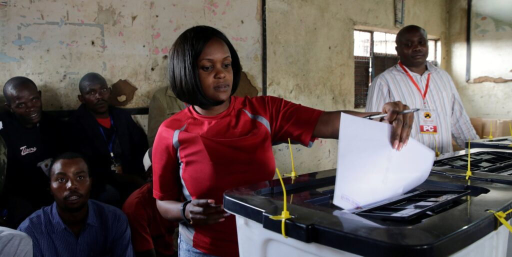 A Kenyan Voter Doing the Exercise